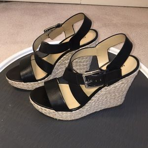 Michael Kors New Black leather wedge sandals 9M